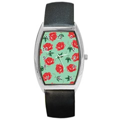 Floral Roses Wallpaper Red Pattern Background Seamless Illustration Barrel Style Metal Watch