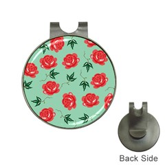 Floral Roses Wallpaper Red Pattern Background Seamless Illustration Hat Clips With Golf Markers