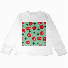 Floral Roses Wallpaper Red Pattern Background Seamless Illustration Kids Long Sleeve T-Shirts