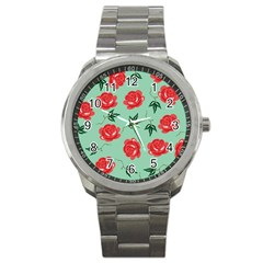 Floral Roses Wallpaper Red Pattern Background Seamless Illustration Sport Metal Watch