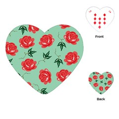 Floral Roses Wallpaper Red Pattern Background Seamless Illustration Playing Cards (Heart)