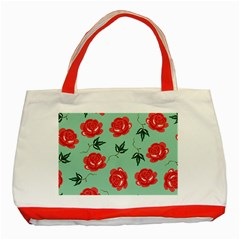 Floral Roses Wallpaper Red Pattern Background Seamless Illustration Classic Tote Bag (Red)