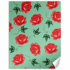 Floral Roses Wallpaper Red Pattern Background Seamless Illustration Canvas 18  X 24