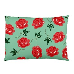 Floral Roses Wallpaper Red Pattern Background Seamless Illustration Pillow Case