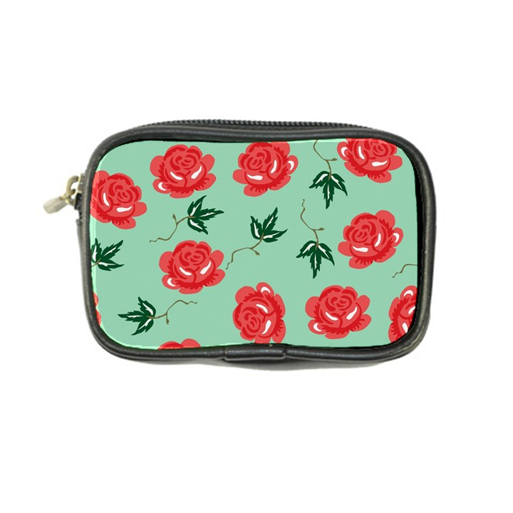 Floral Roses Wallpaper Red Pattern Background Seamless Illustration Coin Purse