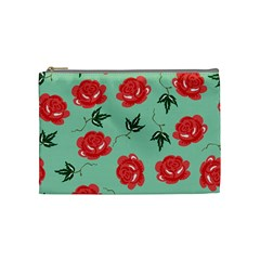 Floral Roses Wallpaper Red Pattern Background Seamless Illustration Cosmetic Bag (medium)