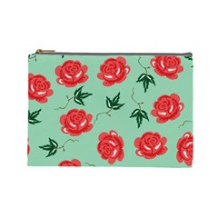 Floral Roses Wallpaper Red Pattern Background Seamless Illustration Cosmetic Bag (Large)