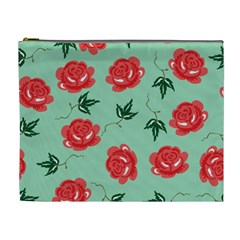 Floral Roses Wallpaper Red Pattern Background Seamless Illustration Cosmetic Bag (XL)