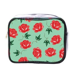 Floral Roses Wallpaper Red Pattern Background Seamless Illustration Mini Toiletries Bags