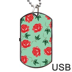 Floral Roses Wallpaper Red Pattern Background Seamless Illustration Dog Tag Usb Flash (one Side)