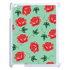 Floral Roses Wallpaper Red Pattern Background Seamless Illustration Apple Ipad 2 Case (white)