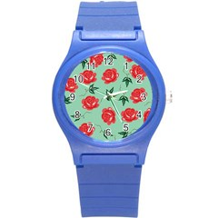 Floral Roses Wallpaper Red Pattern Background Seamless Illustration Round Plastic Sport Watch (S)