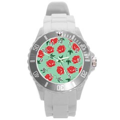 Floral Roses Wallpaper Red Pattern Background Seamless Illustration Round Plastic Sport Watch (L)