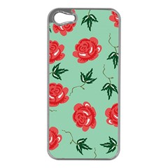Floral Roses Wallpaper Red Pattern Background Seamless Illustration Apple iPhone 5 Case (Silver)