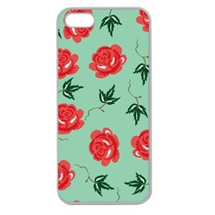 Floral Roses Wallpaper Red Pattern Background Seamless Illustration Apple Seamless iPhone 5 Case (Clear)