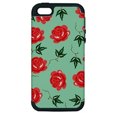 Floral Roses Wallpaper Red Pattern Background Seamless Illustration Apple iPhone 5 Hardshell Case (PC+Silicone)