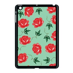 Floral Roses Wallpaper Red Pattern Background Seamless Illustration Apple iPad Mini Case (Black)