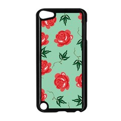Floral Roses Wallpaper Red Pattern Background Seamless Illustration Apple iPod Touch 5 Case (Black)