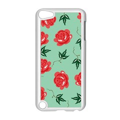 Floral Roses Wallpaper Red Pattern Background Seamless Illustration Apple iPod Touch 5 Case (White)