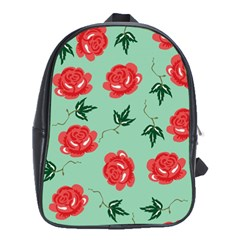 Floral Roses Wallpaper Red Pattern Background Seamless Illustration School Bags (XL)