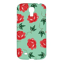 Floral Roses Wallpaper Red Pattern Background Seamless Illustration Samsung Galaxy S4 I9500/I9505 Hardshell Case