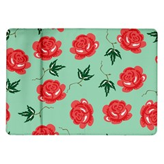 Floral Roses Wallpaper Red Pattern Background Seamless Illustration Samsung Galaxy Tab 10 1  P7500 Flip Case