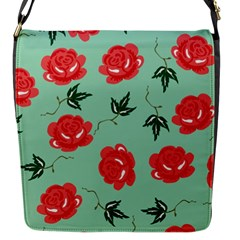 Floral Roses Wallpaper Red Pattern Background Seamless Illustration Flap Messenger Bag (S)