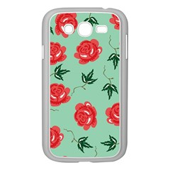 Floral Roses Wallpaper Red Pattern Background Seamless Illustration Samsung Galaxy Grand Duos I9082 Case (white)