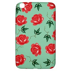 Floral Roses Wallpaper Red Pattern Background Seamless Illustration Samsung Galaxy Tab 3 (8 ) T3100 Hardshell Case