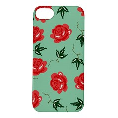 Floral Roses Wallpaper Red Pattern Background Seamless Illustration Apple iPhone 5S/ SE Hardshell Case