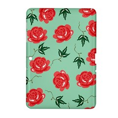 Floral Roses Wallpaper Red Pattern Background Seamless Illustration Samsung Galaxy Tab 2 (10 1 ) P5100 Hardshell Case