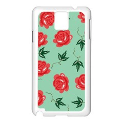 Floral Roses Wallpaper Red Pattern Background Seamless Illustration Samsung Galaxy Note 3 N9005 Case (white)