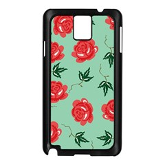 Floral Roses Wallpaper Red Pattern Background Seamless Illustration Samsung Galaxy Note 3 N9005 Case (Black)