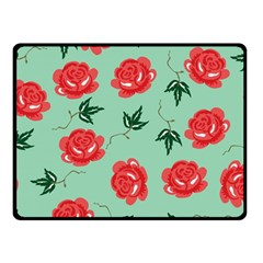 Floral Roses Wallpaper Red Pattern Background Seamless Illustration Double Sided Fleece Blanket (Small)