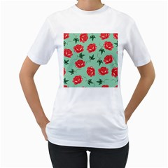 Floral Roses Wallpaper Red Pattern Background Seamless Illustration Women s T-Shirt (White)