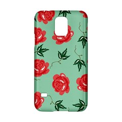 Floral Roses Wallpaper Red Pattern Background Seamless Illustration Samsung Galaxy S5 Hardshell Case