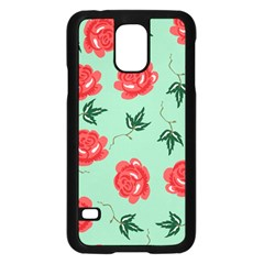 Floral Roses Wallpaper Red Pattern Background Seamless Illustration Samsung Galaxy S5 Case (Black)