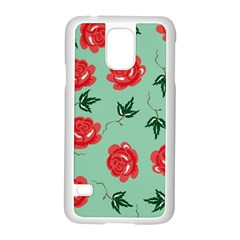 Floral Roses Wallpaper Red Pattern Background Seamless Illustration Samsung Galaxy S5 Case (White)