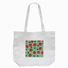 Floral Roses Wallpaper Red Pattern Background Seamless Illustration Tote Bag (White)
