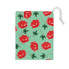 Floral Roses Wallpaper Red Pattern Background Seamless Illustration Drawstring Pouches (large)