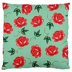 Floral Roses Wallpaper Red Pattern Background Seamless Illustration Large Flano Cushion Case (Two Sides)