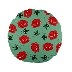 Floral Roses Wallpaper Red Pattern Background Seamless Illustration Standard 15  Premium Flano Round Cushions