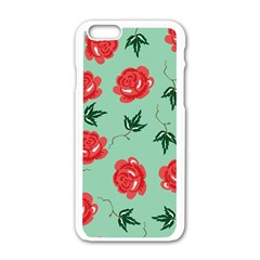 Floral Roses Wallpaper Red Pattern Background Seamless Illustration Apple iPhone 6/6S White Enamel Case