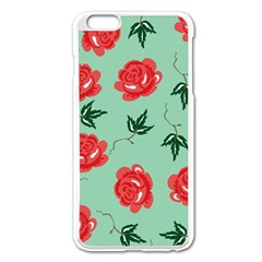Floral Roses Wallpaper Red Pattern Background Seamless Illustration Apple iPhone 6 Plus/6S Plus Enamel White Case