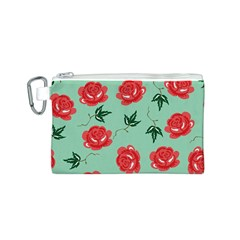 Floral Roses Wallpaper Red Pattern Background Seamless Illustration Canvas Cosmetic Bag (S)