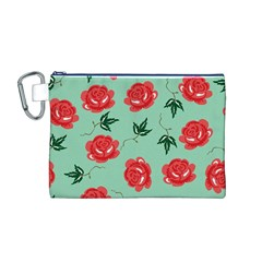 Floral Roses Wallpaper Red Pattern Background Seamless Illustration Canvas Cosmetic Bag (M)