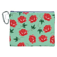 Floral Roses Wallpaper Red Pattern Background Seamless Illustration Canvas Cosmetic Bag (XXL)