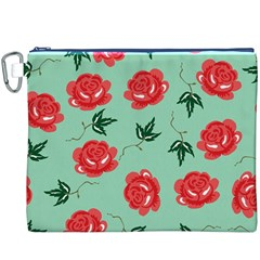 Floral Roses Wallpaper Red Pattern Background Seamless Illustration Canvas Cosmetic Bag (xxxl)