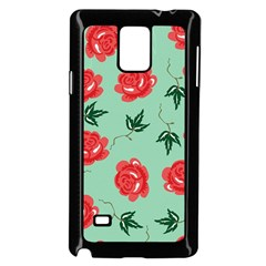 Floral Roses Wallpaper Red Pattern Background Seamless Illustration Samsung Galaxy Note 4 Case (Black)