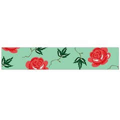 Floral Roses Wallpaper Red Pattern Background Seamless Illustration Flano Scarf (Large)